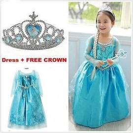 Hot Robe D�guisement Costume La Reine Des Neiges Frozen Elsa Anna Enfant