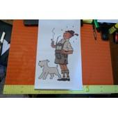 Affiche Tintin Et Milou (Plastifi� 50 X 30 ) - Tintin Habill� En Tyrollien ( Affiche Livr�e Roul�e) . 2012.