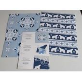 Papier Cadeau De F�te : 2 Feuilles De 84x60cm Sur Le Th�me Des Ours Polaires - Couleurs Blanc Et Divers Bleus + 3 Petites Cartes Cartonn�es - �dit� Par I F A W