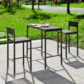 Sobuy� Ogt07-Sch Salon De Jardin Ensemble Table De Jardin + 2 Chaises En R�sine Tress�e