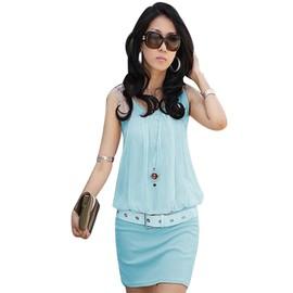 Mesdames �l�gant O-Cou Sans Manches Chic Mini Robe Tunique Causale Nouvelle Femmes Robes