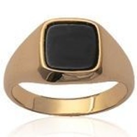 Mary Jane - Bague Plaqu� Or Femme/Homme - Larg:8mm / Haut:8mm - Onyx-Pierre Synth�tique-Plaqu� Or (Carr� / Chevali�re) - Gravure Offerte