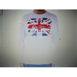 T-Shirt Pepe Jeans New Flag Coton M Blanc