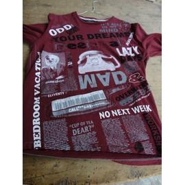 T-Shirt Desigual Coton M Bordeau