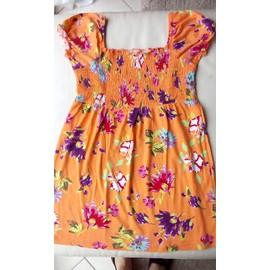 T-Shirt C&a Coton 16 Ans Ou 170 176 Orange Motif Fleurs