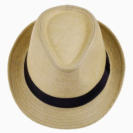Eozy Chapeau De Paille Panama Femme Homme Chapeau De Soleil Blanc Été Plage cc773ae7cc7