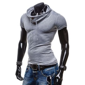 Casual Slim Fit Short Sleeve T-Shirt Blouse Tops Bracelet Boutons Pullover Pour Hommes