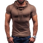 Casual Slim Fit Short Sleeve T-Shirt Blouse Tops Bracelet Boutons Pullover Pour Hommes