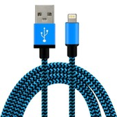C�ble Usb 8 Pin 1 M�tre En Nylon Tress� / M�tal Renforc� Ultra-R�sistant Pour Iphone 6s+, 6+, 6s, 6, 5s, 5c, 5, Ipad, Ipod (Bleu)