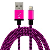 C�ble Usb 8 Pin 1 M�tre En Nylon Tress� / M�tal Renforc� Ultra-R�sistant Pour Iphone 6s+, 6+, 6s, 6, 5s, 5c, 5, Ipad, Ipod (Rose)