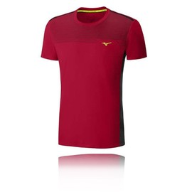 Mizuno Cooltouch Venture Hommes Rouge Manche Courte Running T Shirt Tee Top