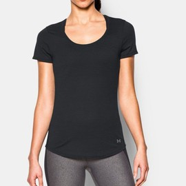 Under Armour Charged Femmes Noir Manche Courte Col Rond Running T Shirt Tee