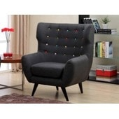 Fauteuil En Tissu Serti Xl - Anthracite Boutons Multicolores
