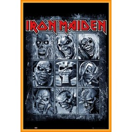 Poster encadré: Iron Maiden - Eddies (91x61 cm), Cadre Plastique, Orange