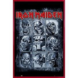 Poster encadré: Iron Maiden - Eddies (91x61 cm), Cadre Plastique, Rouge