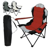 Chaise De Camping Pliable + Sac De Transport - Rouge - Linxor France
