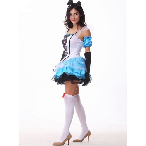 Alice au pays des merveilles costume Robe Bleu Alice magnifique Organza Halloween Cosplay