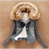 Bleu Hiver Chaud Femmes Denim Jeans Col De Fourrure Vestes Blazer Hiver Manteaux