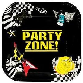 6 Assiettes Cartonn�es Party Zone -25 X 25 Cm