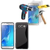 Samsung Galaxy J5 (2016) J510fn/ J510f/ J510g/ J510y/ J510m/ J5 Duos (2016): Coque Etui Housse Pochette Accessoires Silicone Gel Motif S Line + 2 Films De Protection D'�cran Verre Tremp� - Noir