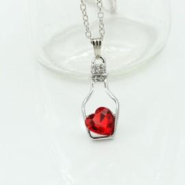 Collier Pendentif Bottle Heart Rouge Crystal Pour Femme Bijoux Fashion