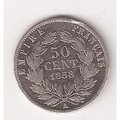 50 Centimes Napol�on 3 T�te Nue 1858 T B +