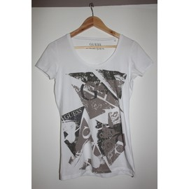 T-Shirt Guess Coton M Blanc