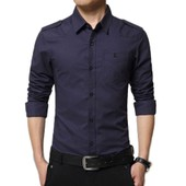 Chemise Hommes Manches Longues Mode Chemises Style Militaire Casual V�tement Masculine