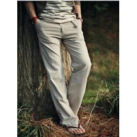 Homme Pantalon Long Mati�re De Lin Style Ample Type Droit Couleur Uniesaisons:Printemps