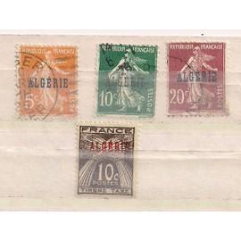 Algérie- 3 timbres oblitérés Semeuse avec surcharge et 1 timbre taxe neuf avec surcharge N°33