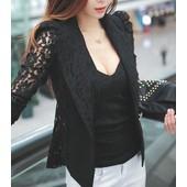 Revers �l�gant Lace Solides Manches Longues Blazer Couleur Pour Les Femmes