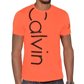 Calvin Klein - T Shirt Manches Courtes - Homme - Cmp13s - Orange Fluo Noir
