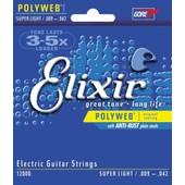 Elixir 12000 Polyweb Super Light 9-42 Cordes Pour Guitare �lectrique