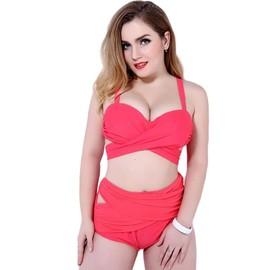 Keral Femmes Grande Taille Bikini Set Couleur Pure Maillot De Bain Push-Up Rouge 2xl