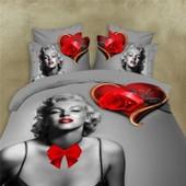 Parure De Lit Marylin Monroe Pour 2 Personnes 3d Effect Polyester 200*230cm 4 Pieces
