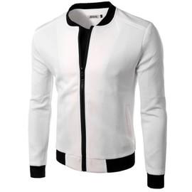 Blouson Bombers Homme Mode Noir Blanc Veste Sweat