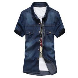 Chemise Hommes Manches Courtes Chemises En Jean Col Rabattu Mince Fit Shirt