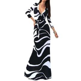 Femmes Mode Sexy 3/4 Manches Col V Impression Grande Hip Longueur Imprim� Robe Longue Femmes Parti Robes Robe De Festa