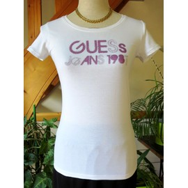 T-Shirt Guess Coton Taille S Blanc Avec Strass Violet Tbe