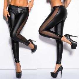 Leggings 36 38 40 Pantalon Combinaison Soir�e Disco Clubwear Sexy Noir Legging