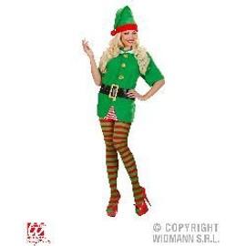 Collants D'elfe/Clown � Rayures Rouges Et Vertes - M/L