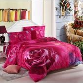 Parure De Lit Creative Rose Rouge Pour 2 Personnes 200*230cm 4 Pieces