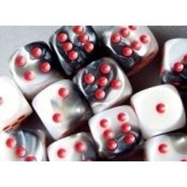 Chessex Gemini Black White/Red D6 X 12