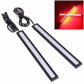 2x Drl Led Voiture Lumi�re Lampe Cob Etanche Diurne Daylight Feux Anti Brouillard Phare Auto 8w 14cm Rouge