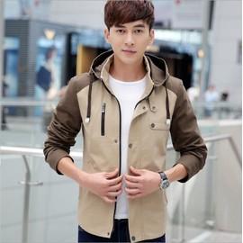 2016 Automne Nouveaux Hommes Cagoul�s Hommes Veste Col Cultivant Coton Couleur Unie Couture
