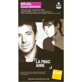 PLV cartonnée rigide 14x25cm PATRICK BRUEL chante BARBARA magasins FNAC