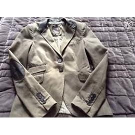Tr�s Belle Veste Vintage Zara Woman Kaki/Taupe Ts - Col & Coude Type Cuir Marron