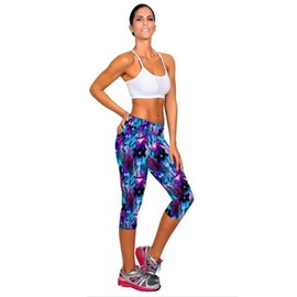 Femme Pantacourt Exercice Leggings Elastique Sport Fitness #4