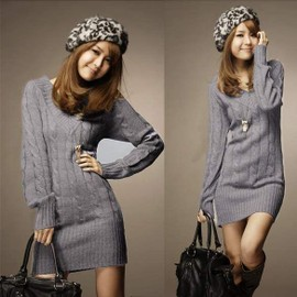 Robe Sweater Pull Mini En Col V Automne Hiver Femmes