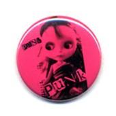 1x Badge - Pink Poupee Punk Rose - Rockabilly Punk Rock Pop Glam Pins Button �25mm